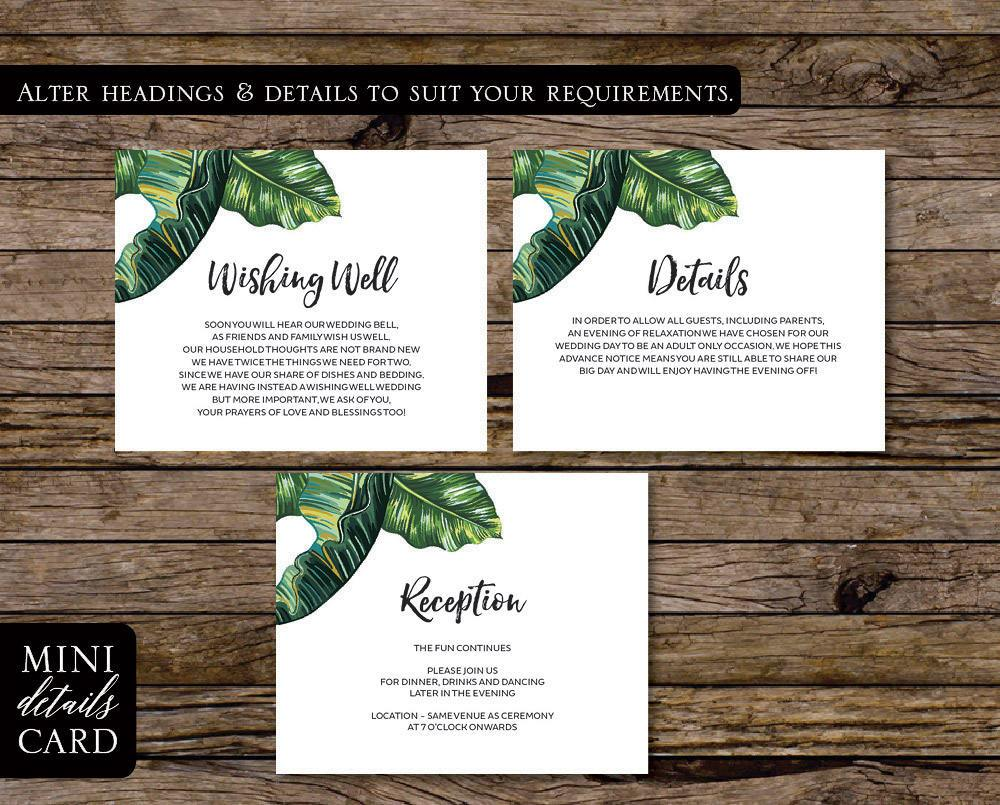 Palm Leaf Tropical Wedding Enclosure/Details Card Printable Template Instant Download PDF