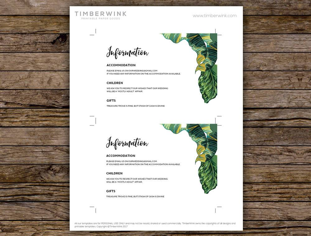 Palm Leaf Tropical Wedding Enclosure/Info Card Printable Template Instant Download PDF