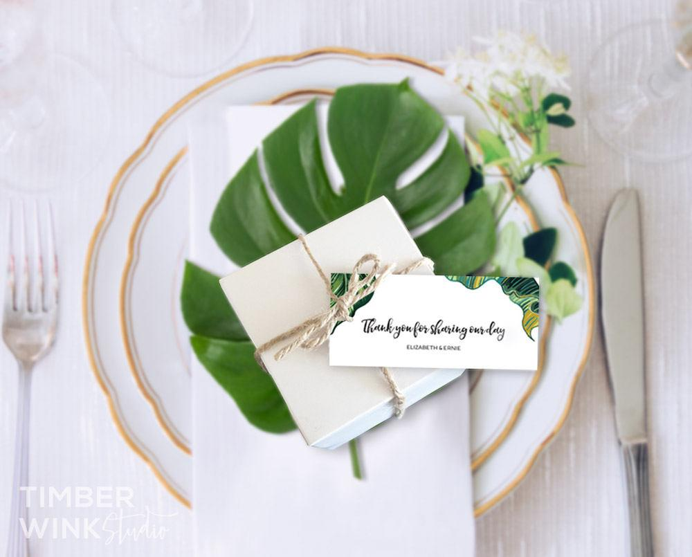 Palm Leaf Tropical Wedding Favor Tag Printable Template Instant Download PDF