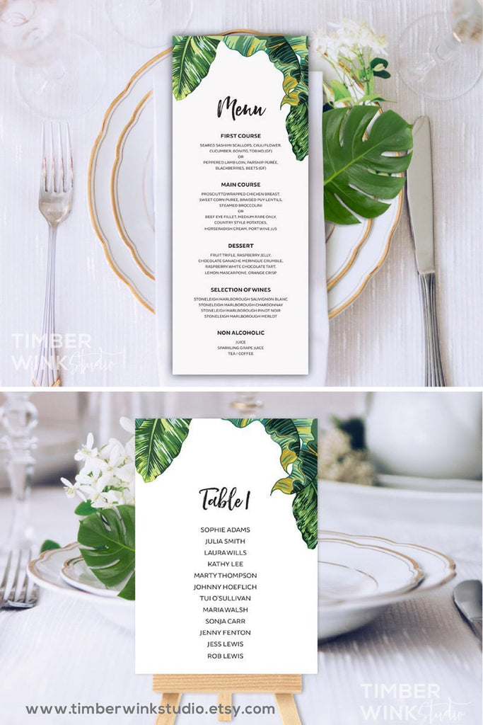 Tropical Wedding Menu Printable Template