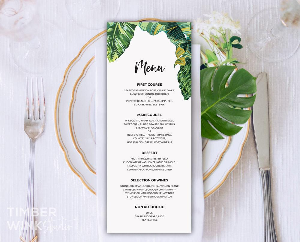 Palm Leaf Tropical Wedding Menu Printable Template Instant Download PDF