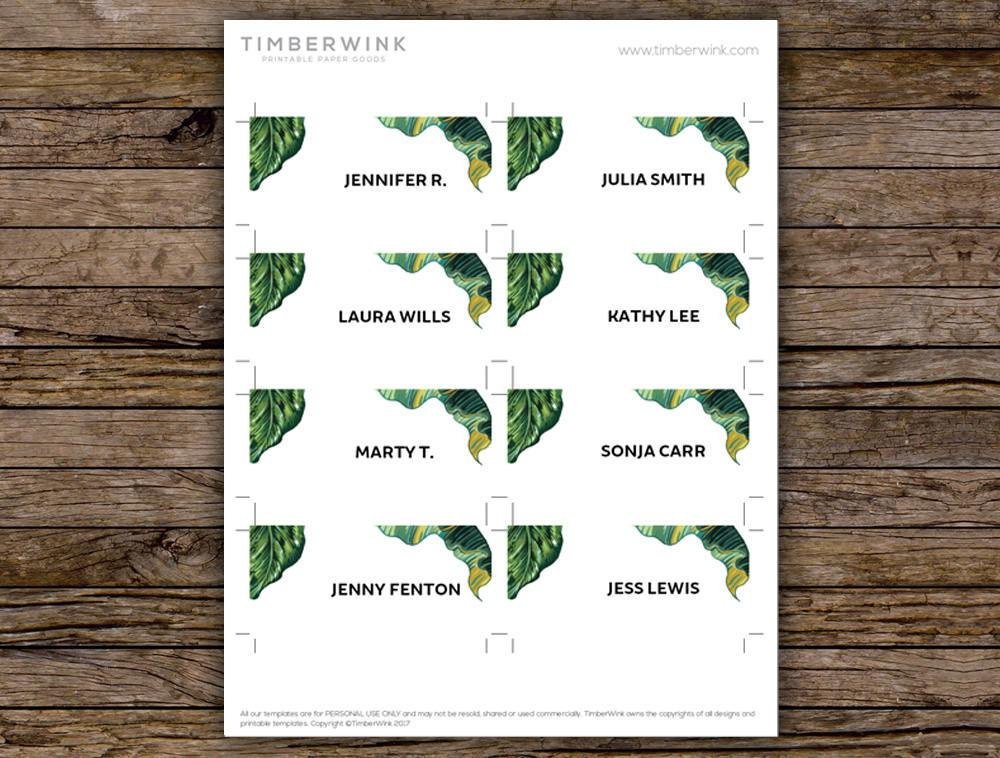 Palm Leaf Tropical Wedding Place Card Printable Template Instant Download PDF