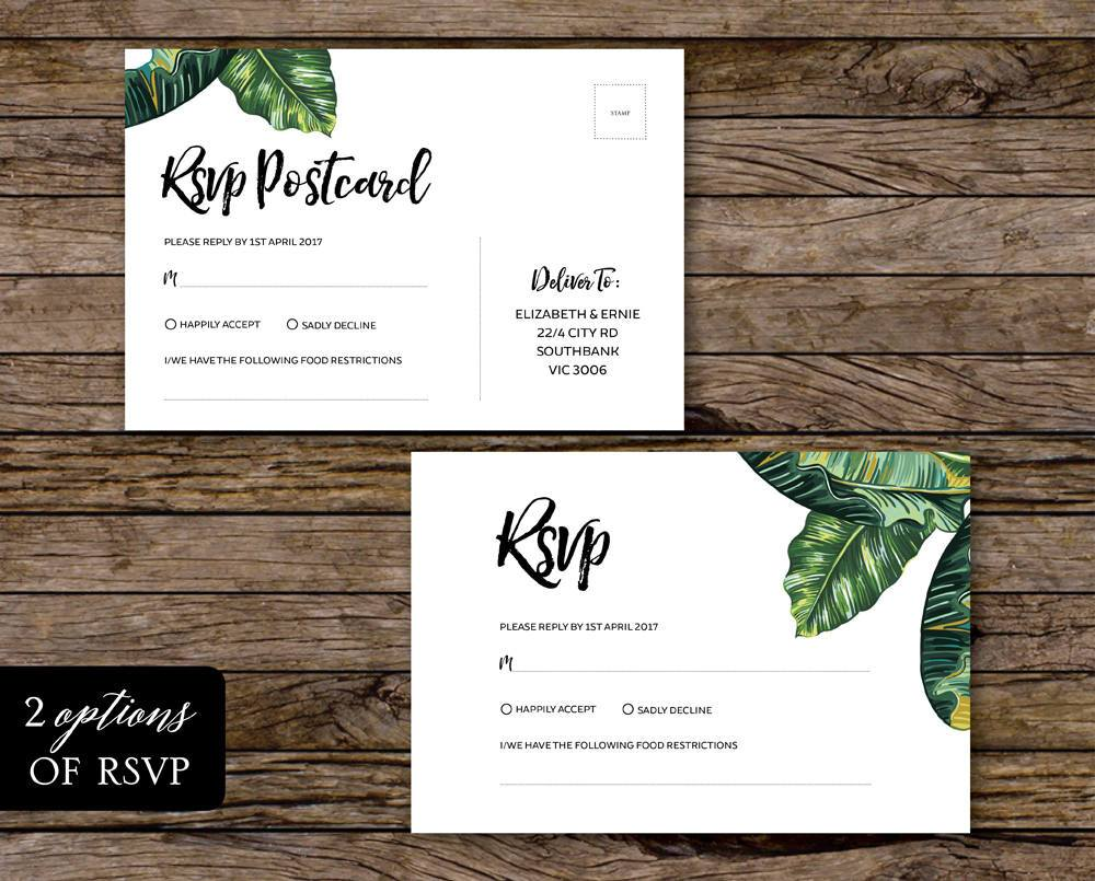 Palm Leaf Tropical Wedding RSVP Card Printable Template Instant Download PDF
