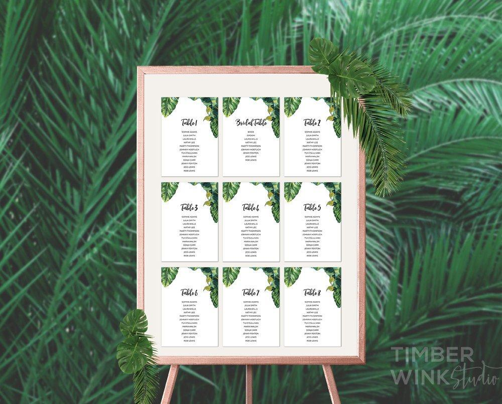 Palm Leaf Tropical Wedding Seating Plan Printable Template Instant Download PDF