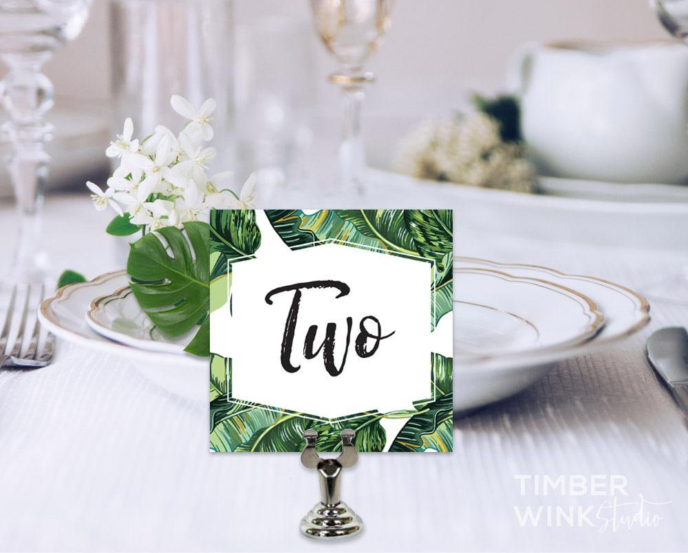 Palm Leaf Tropical Wedding Table Number Card Printable Template Instant Download PDF