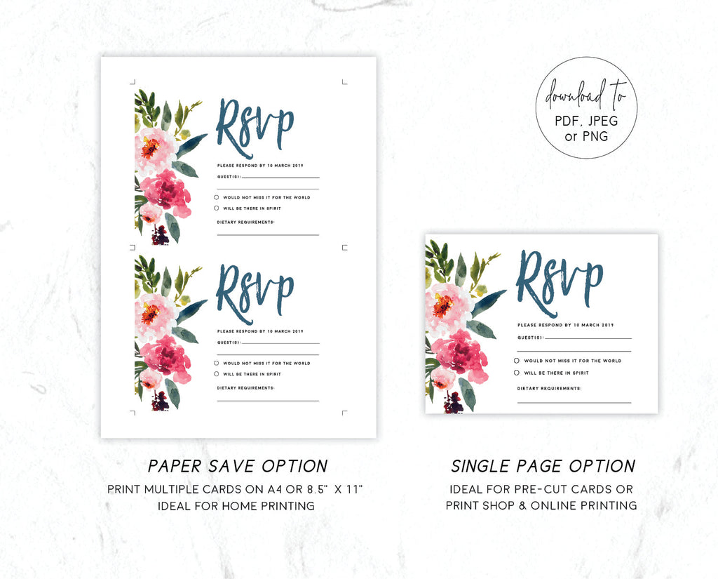 Watercolour Pink Peony Wedding RSVP Card Printable Template Instant Download Templett PDF