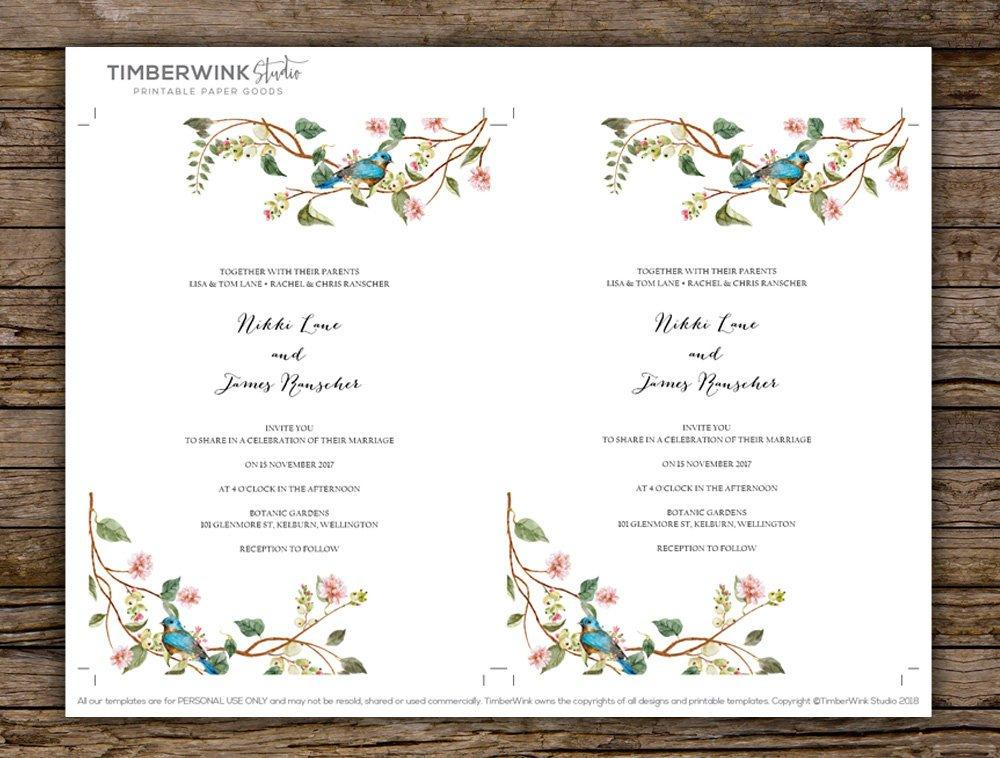 Pink Floral & Botanical Leaves Wedding Invitation Printable Template Instant Download PDF