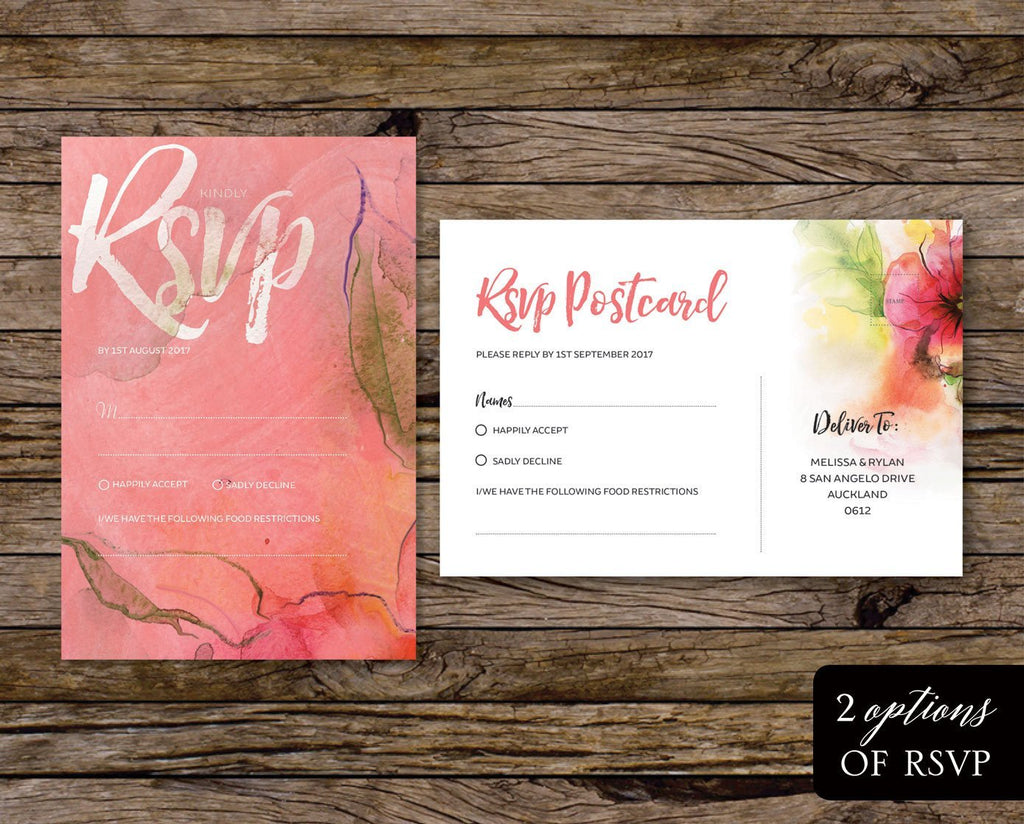 Pink Floral & Greenery Watercolour Wedding Invitation Printable Suite Instant Download PDF