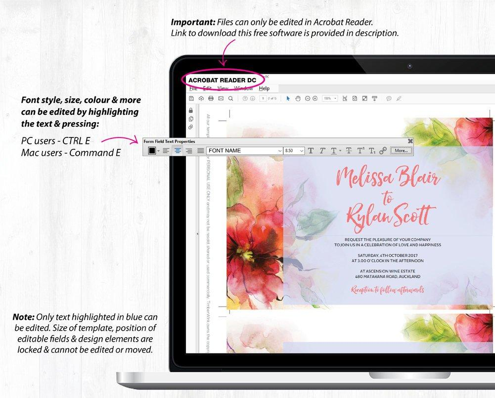 Pink Floral Watercolour Wedding Invitation Suite Printable Template Instant Download PDF