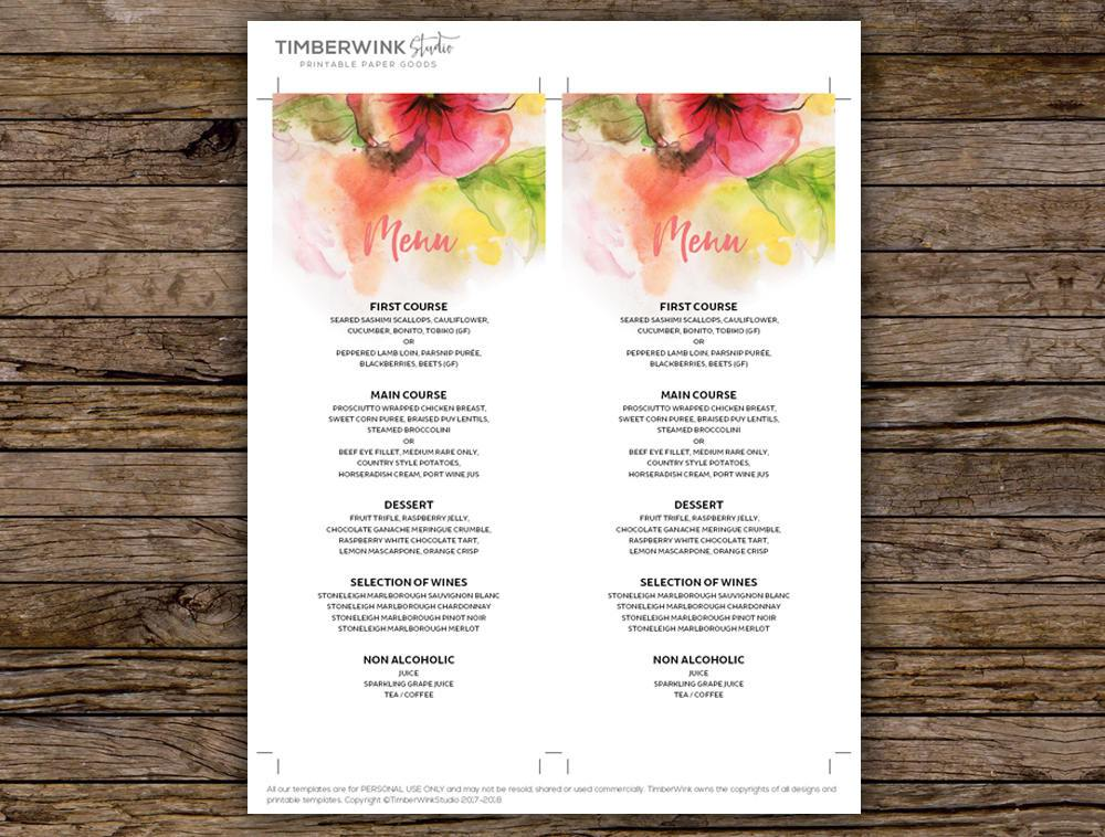 Pink Floral Watercolour Wedding Menu Printable Template Instant Download PDF