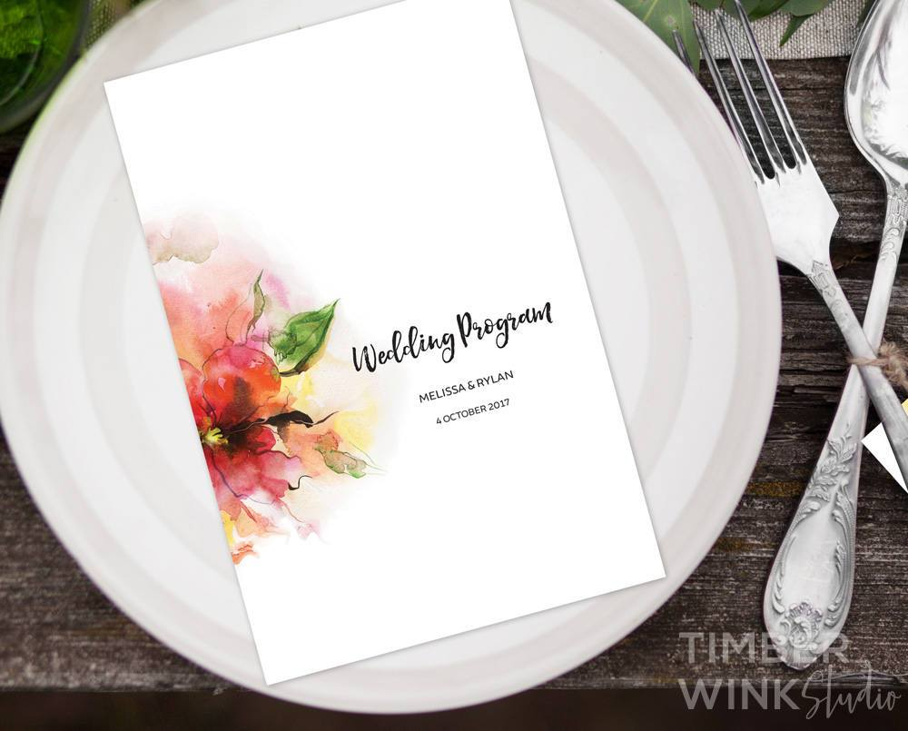 Pink Floral Watercolour Wedding Program/Order Of Service Printable Template Instant Download PDF