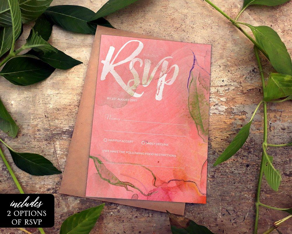 Pink Floral Watercolor Wedding RSVP Card Printable Template Instant Download PDF