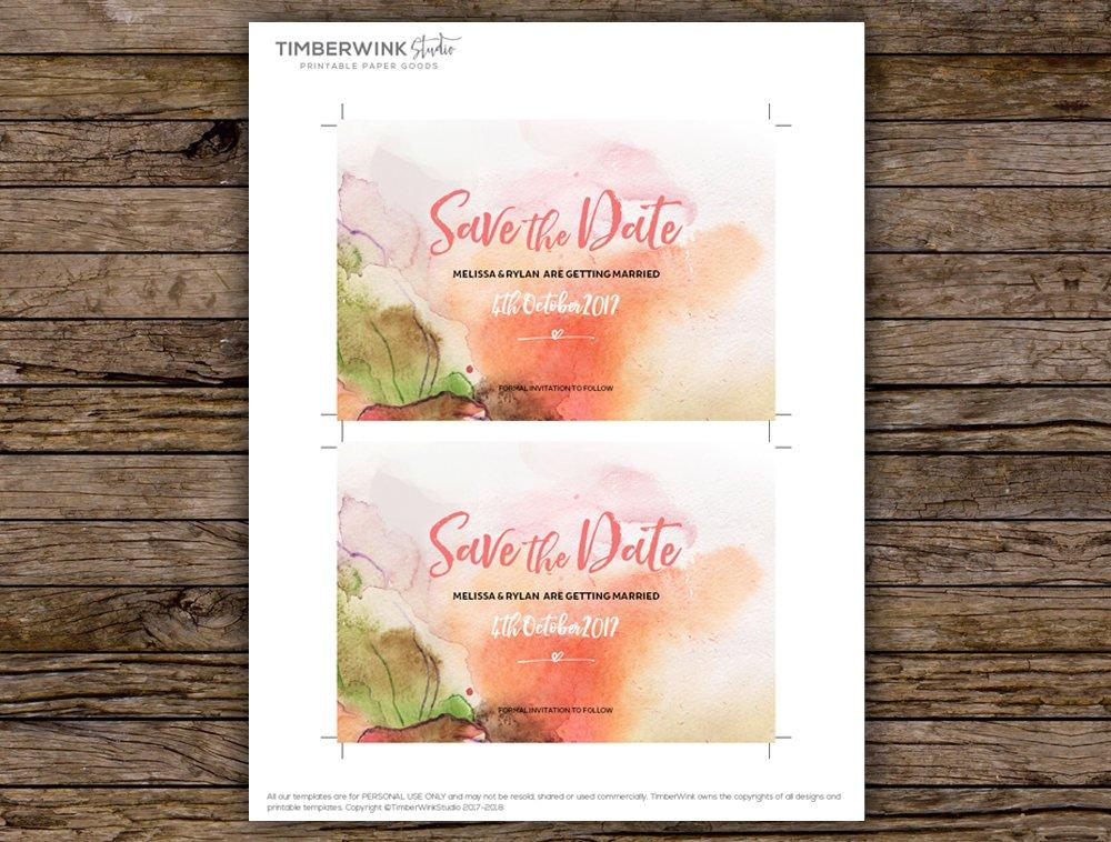 Pink Floral Watercolour Wedding Save The Date Printable Template Instant Download PDF
