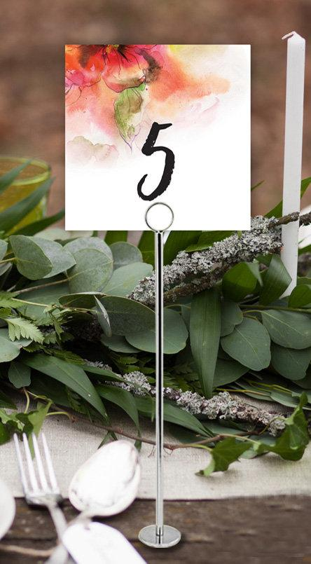 Pink Floral Watercolour Wedding Table Number Printable Template Instant Download PDF