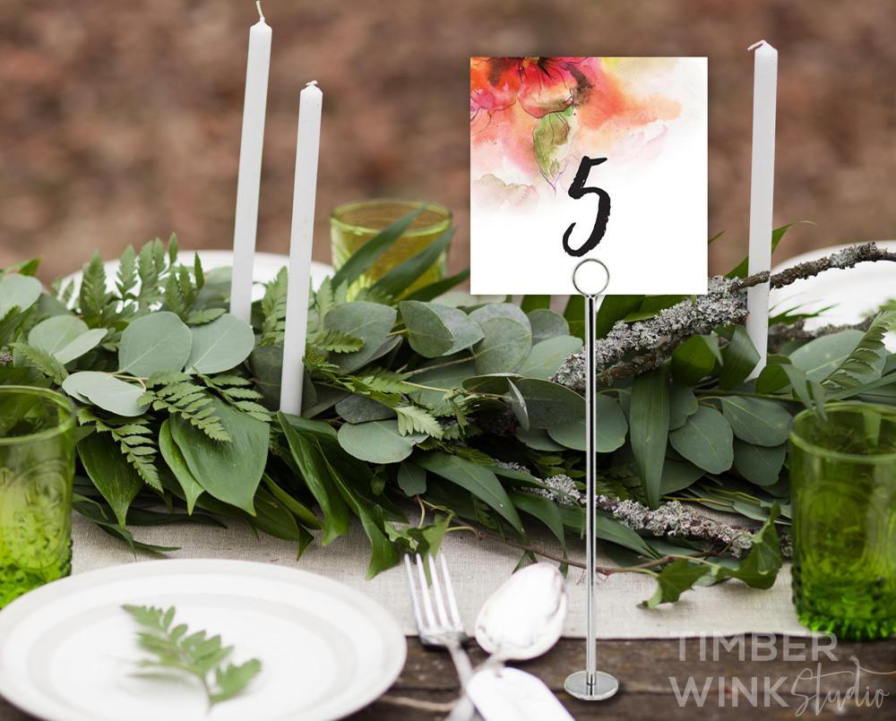 Watercolour Floral Wedding Table Number Printable Template