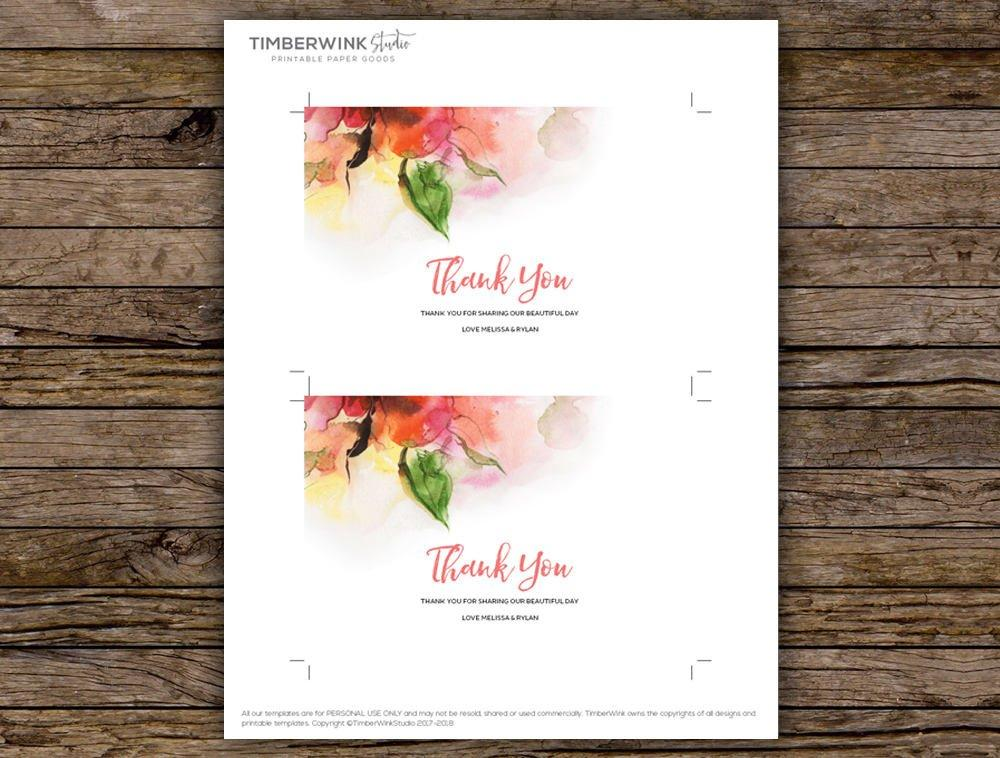 Pink Floral Watercolour Wedding Thank You Card Printable Template Instant Download PDF