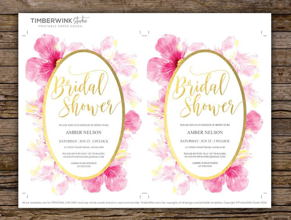 Pink Hibiscus Bridal Shower Invitation Instant Download PDF