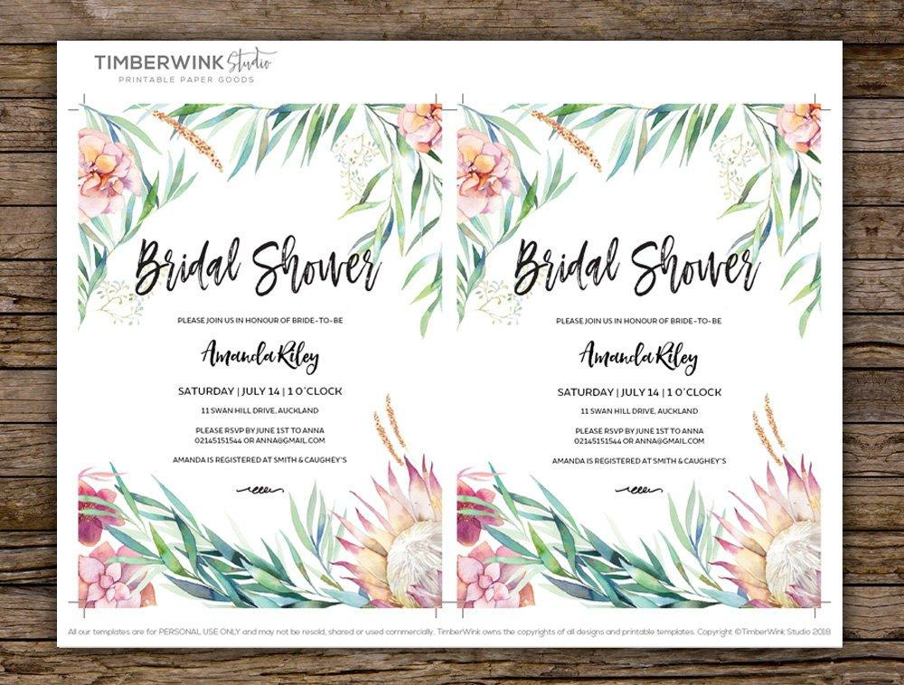 Pink Protea & Greenery Bridal Shower Invitation Printable Template Instant Download PDF