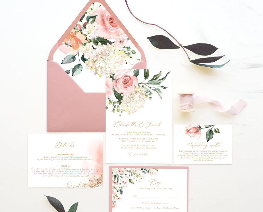 Pink Floral Greenery Hydrangea Wedding Invitation Suite Printable Template Instant Download Templett PDF