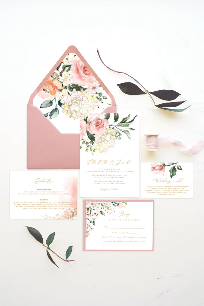 Blush Floral Greenery RSVP Card Printable Template Instant Download Templett PDF