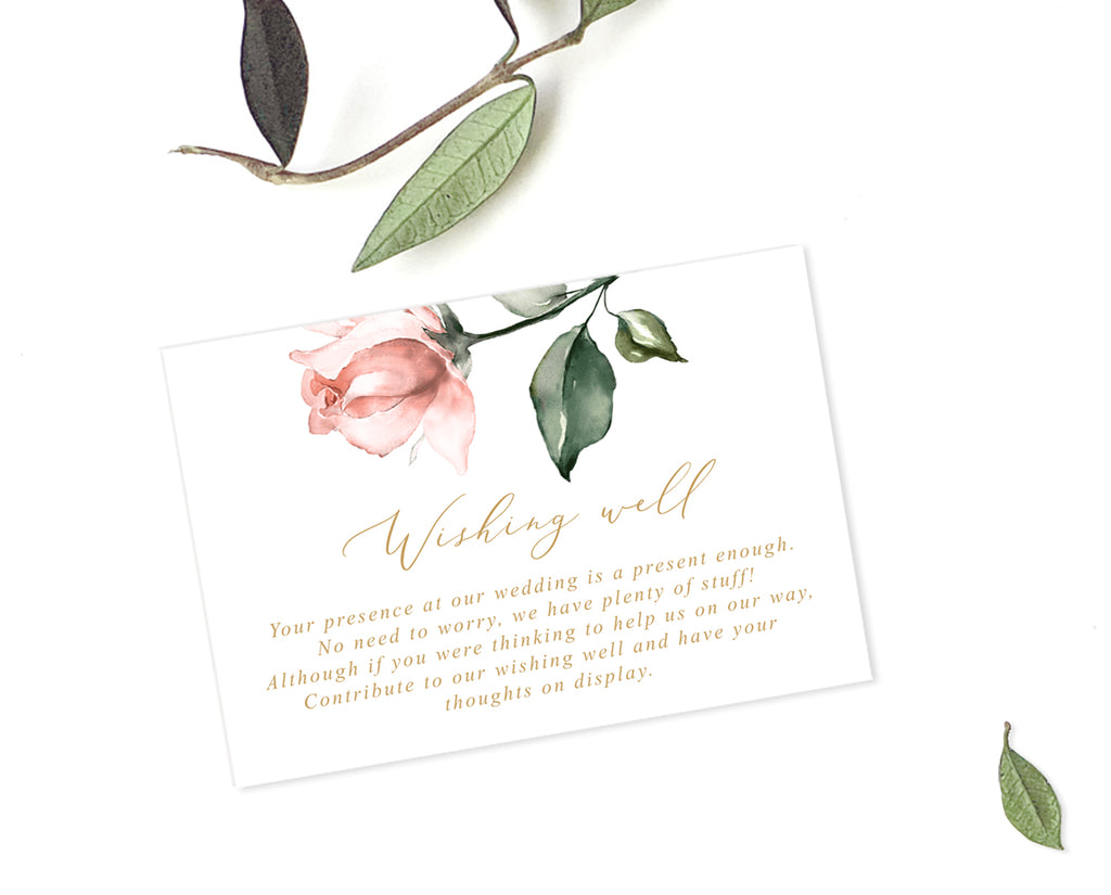 Blush Floral Wedding Details Card Printable Template