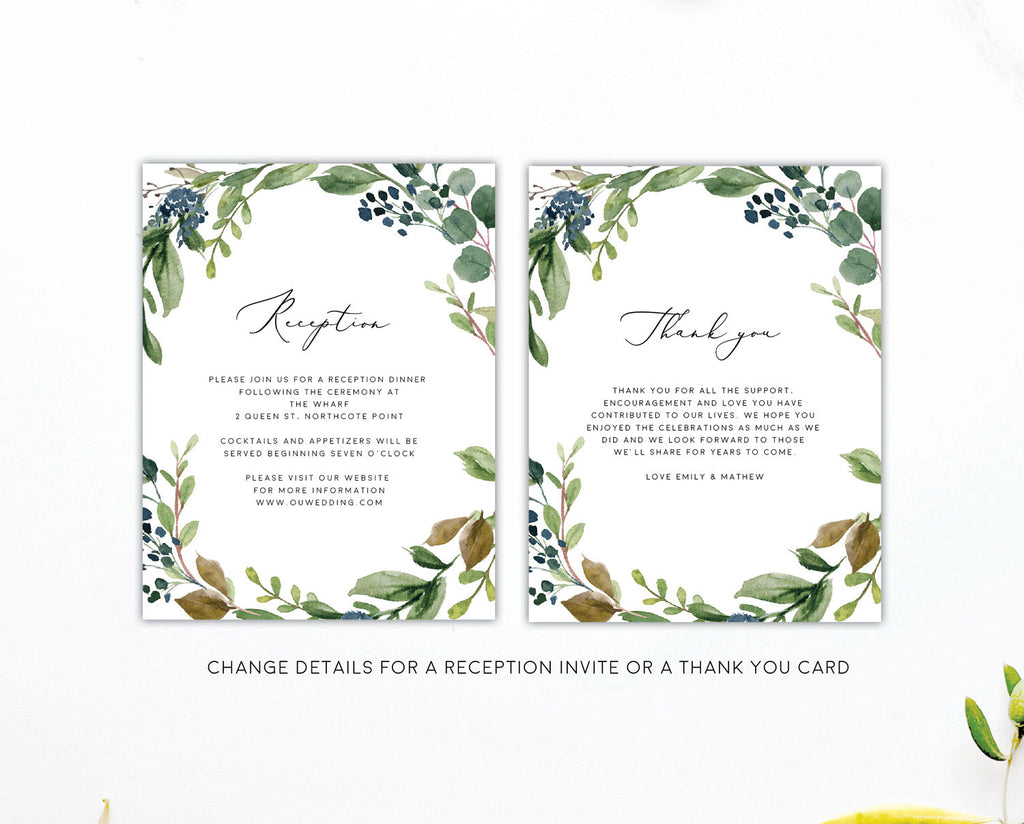 Greenery Eucalyptus Wedding Thank You Card Printable Template Instant Download Templett PDF