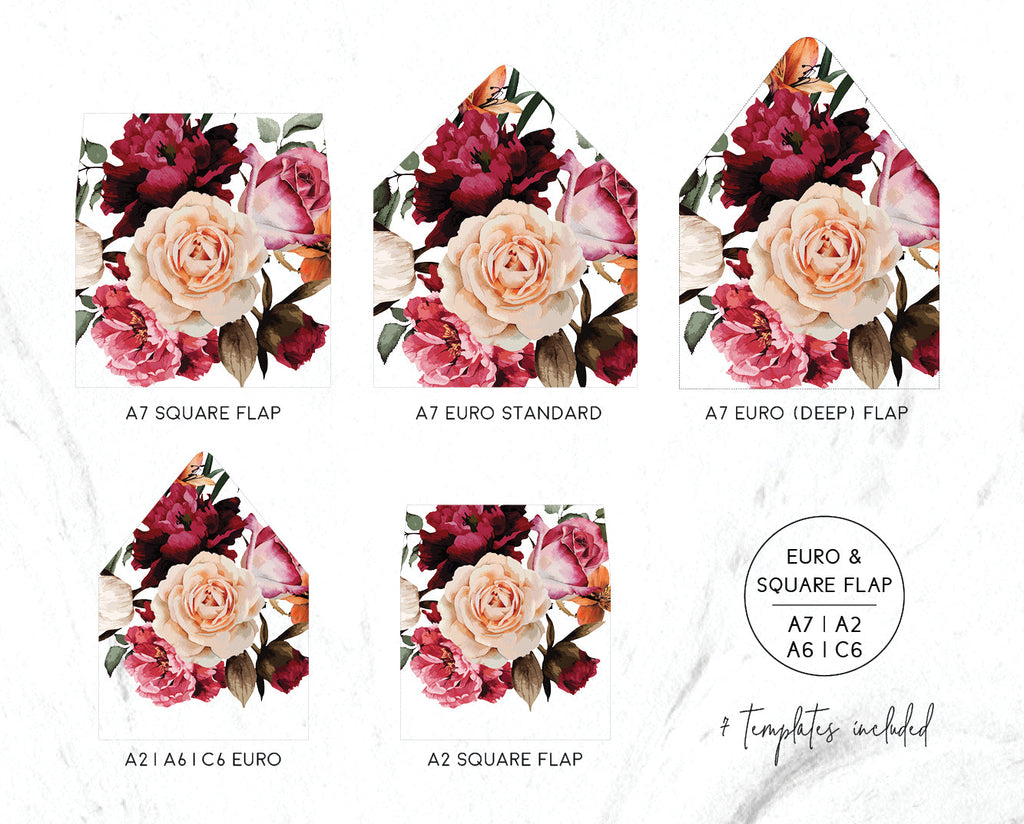 Burgundy Floral Wedding Invitation Envelope Liner - Euro, Straight &  Square Flap - A7, A2, A6, C6