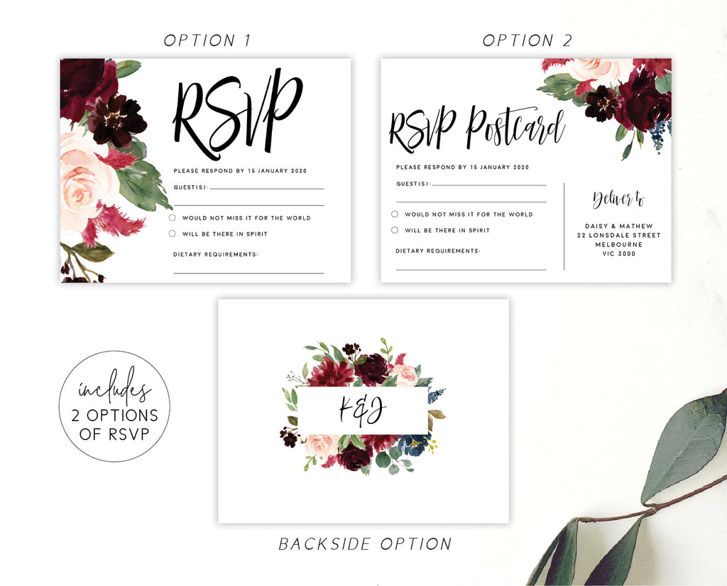Burgundy Marsala Floral Greenery RSVP Card Printable Template Instant Download Templett PDF