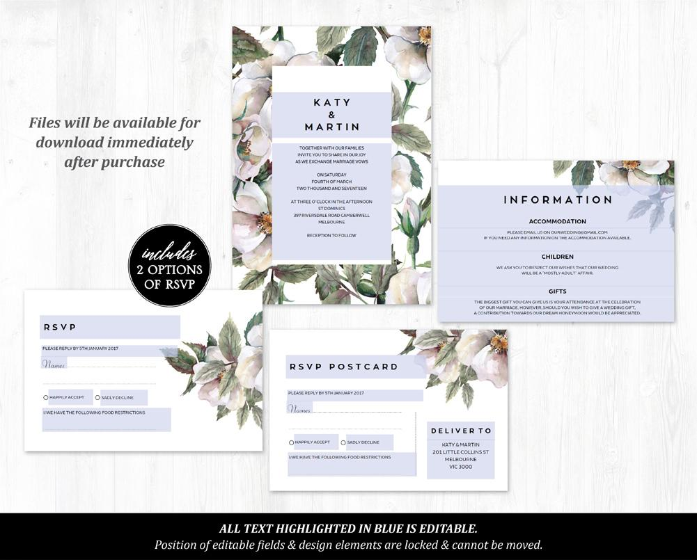 Rustic Magnolia Floral Wedding Invitation Printable Template Instant Download PDF