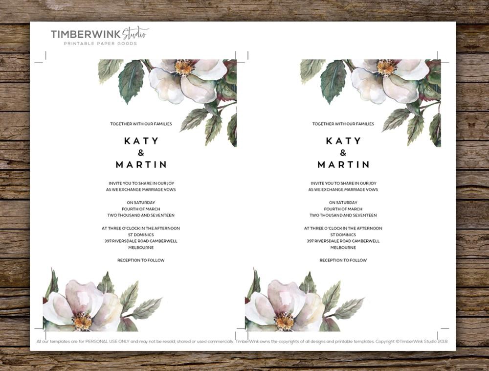 Rustic White Magnolia Floral Wedding Invitation Printable Template Instant Download PDF