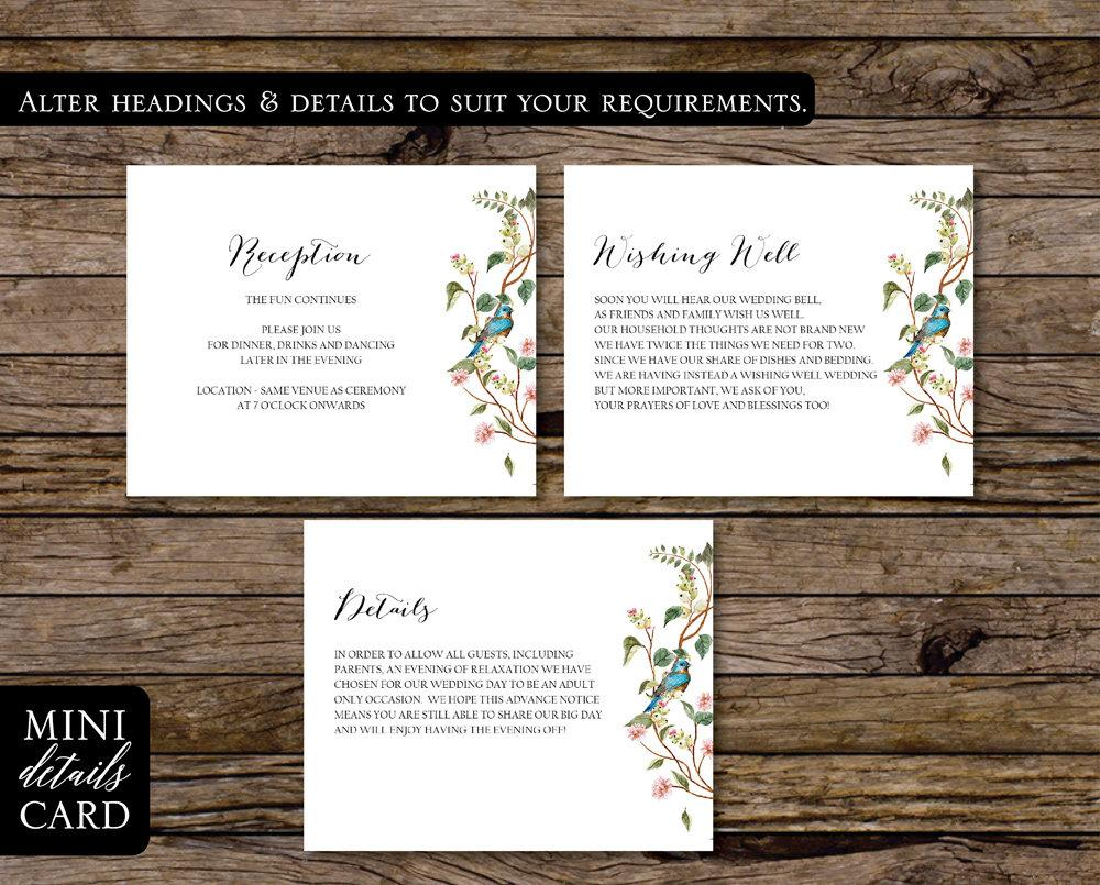 Floral Wedding Mini Information Card Printable Template