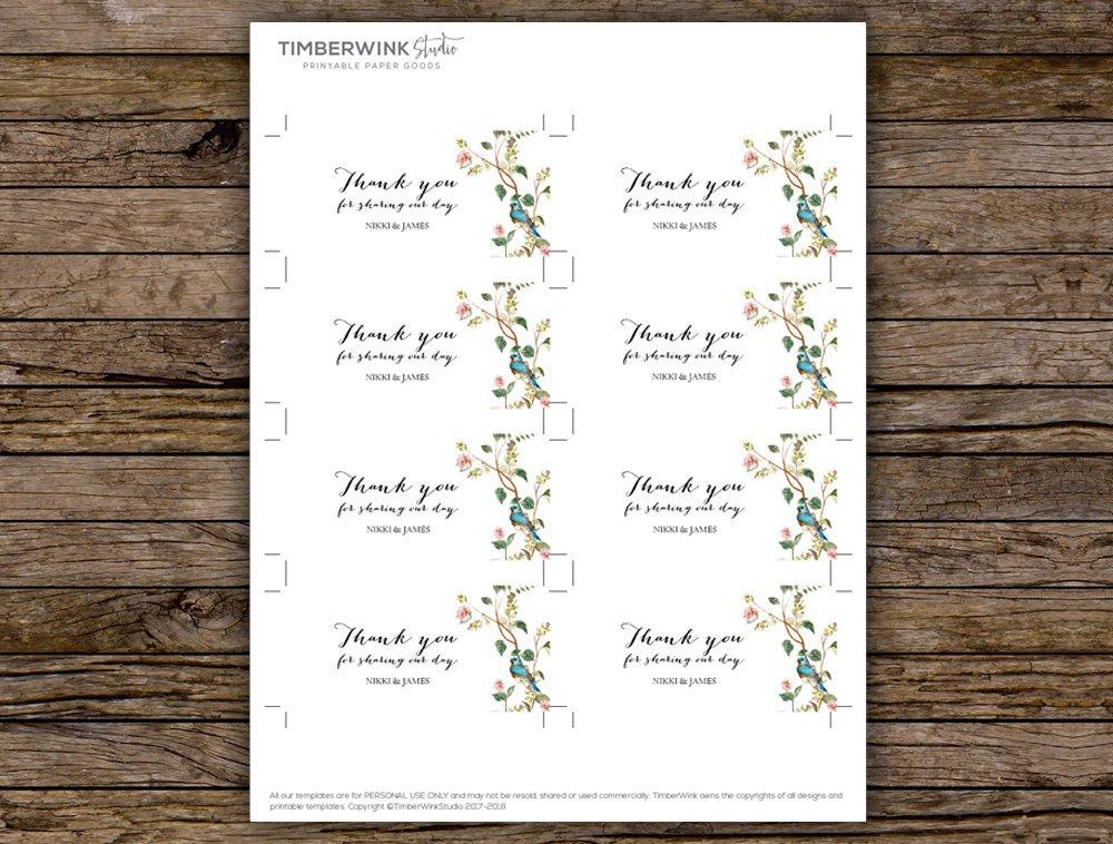 Sage Botanical Leaves & Blush Floral Wedding Favor Tag Printable Template Instant Download PDF