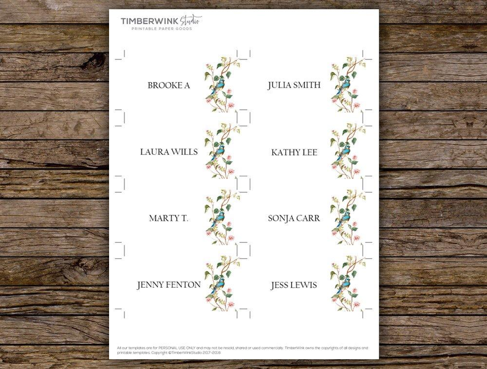 Watercolour Floral Wedding Place Card Printable Template
