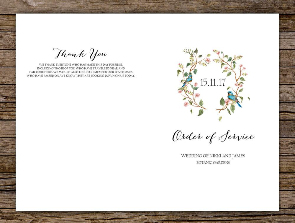 Sage Botanical Leaves & Blush Floral Wedding Program Printable Template Instant Download PDF
