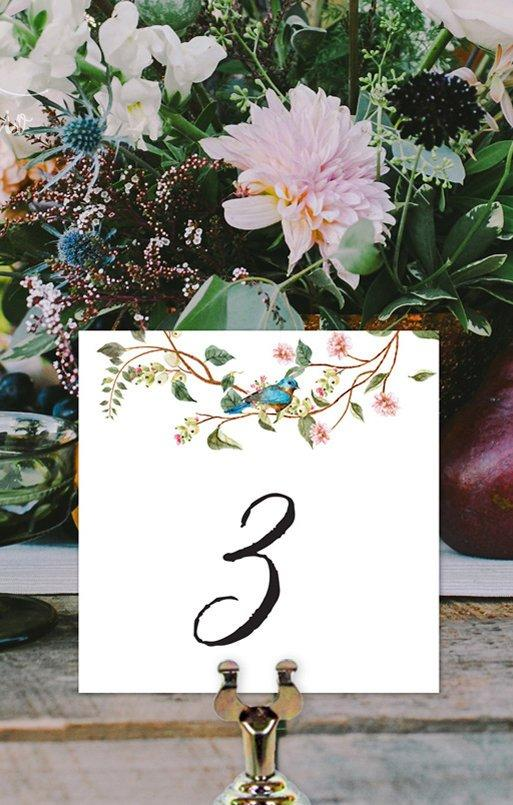 Sage Botanical Leaves & Blush Floral Wedding Table Number Printable Template Instant Download PDF