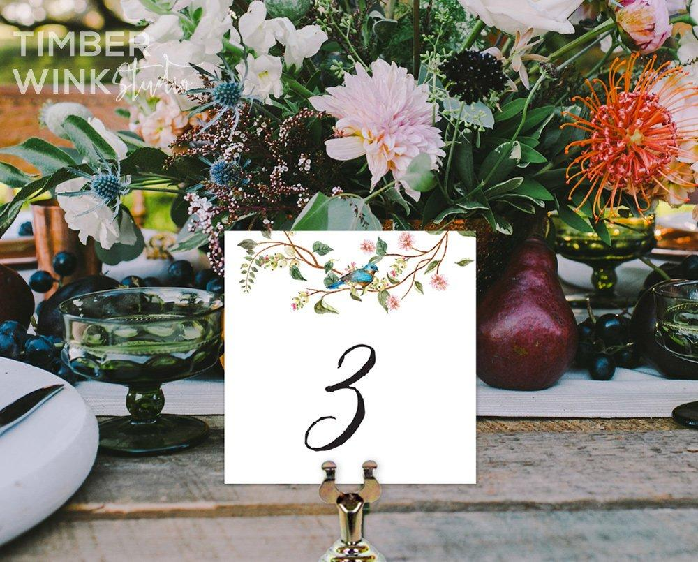 Floral Wedding Table Number Printable Template