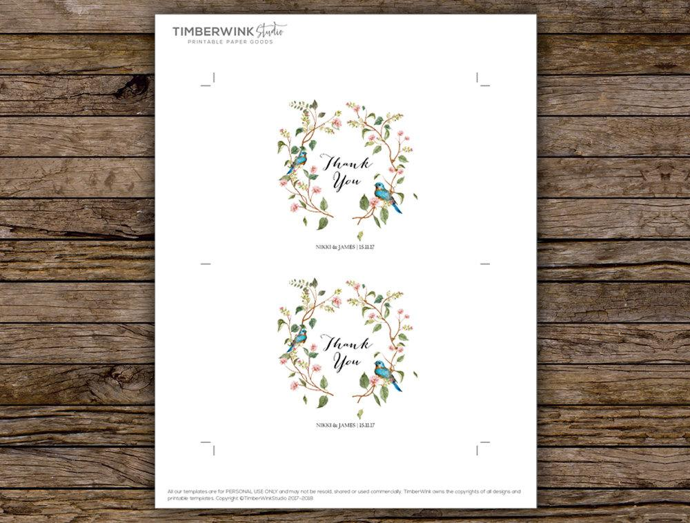 Sage Botanical Leaves & Blush Floral Wedding Thank You Card Printable Template Instant Download PDF