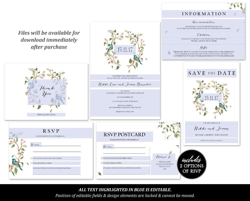 Sage Leaves & Blush Floral Wedding Invitations Set Printable Template Instant Download PDF