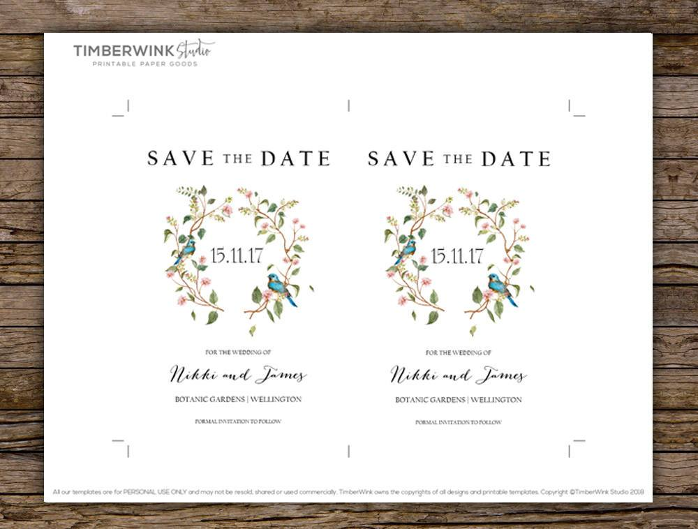 Sage Leaves & Blush Floral Wedding Save The Date Card Printable Template Instant Download PDF
