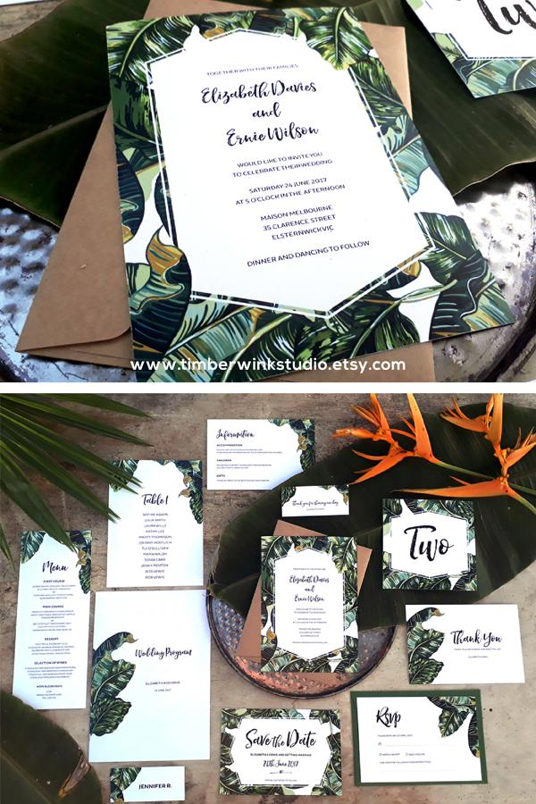 Tropical Palm Leaf Wedding Invitation Printable Template Instant Download PDF