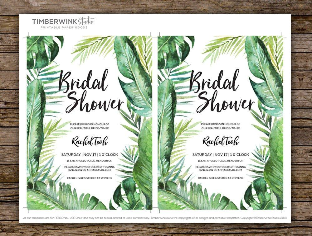 Tropical Wedding Bridal Shower Invitation Printable Template Instant Download PDF