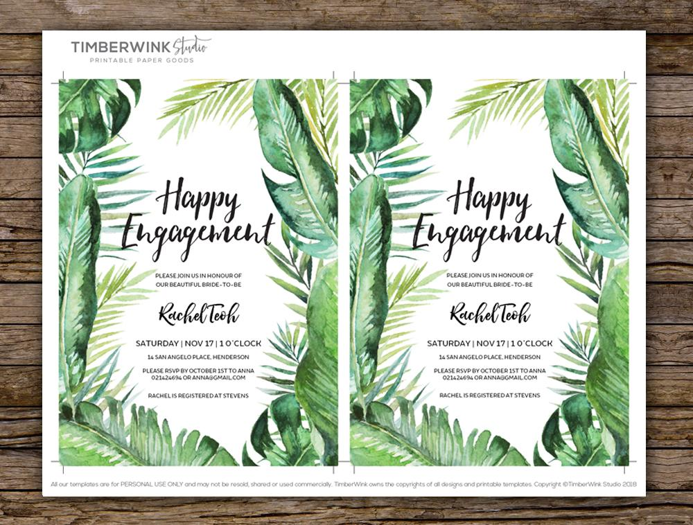 Tropical Wedding Engagement Invitation Printable Template Instant Download PDF