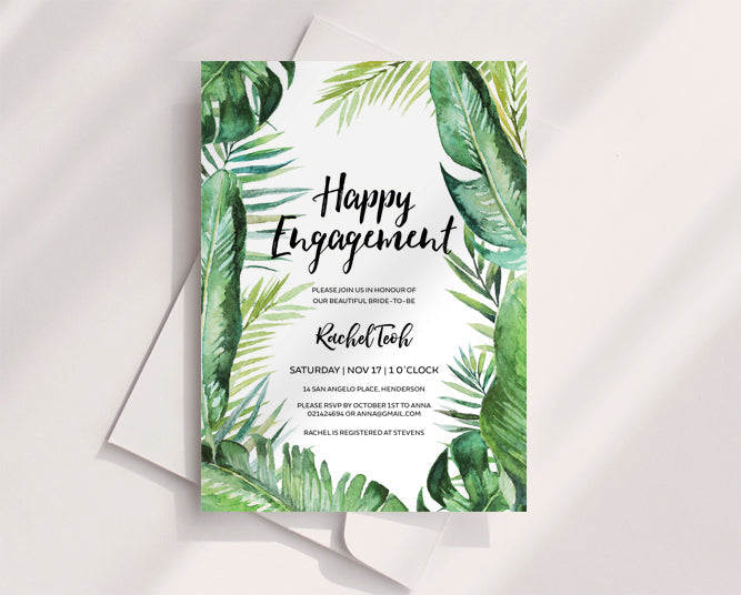Tropical Wedding Engagement Invitation Printable Template