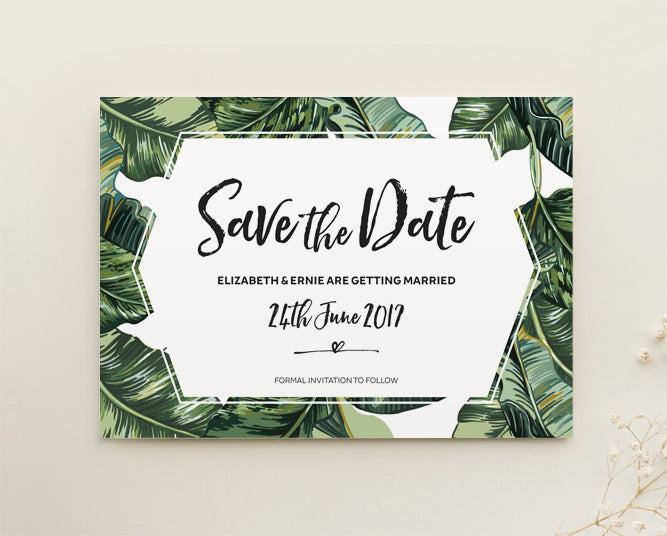 Tropical Wedding Save The Date Card Printable Template