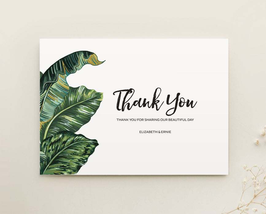 Tropical Wedding Thank You Card Printable Template