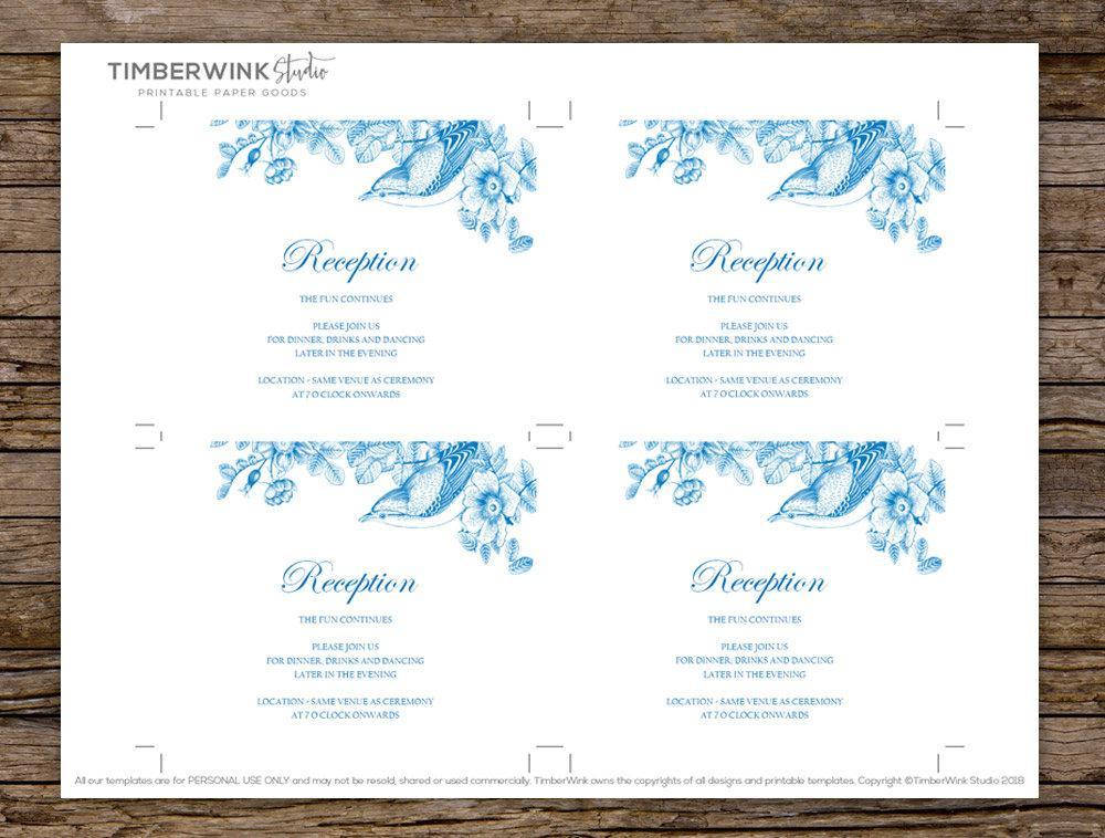 Vintage Blue Floral Wedding Enclosure/Details Card Printable Template Instant Download PDF