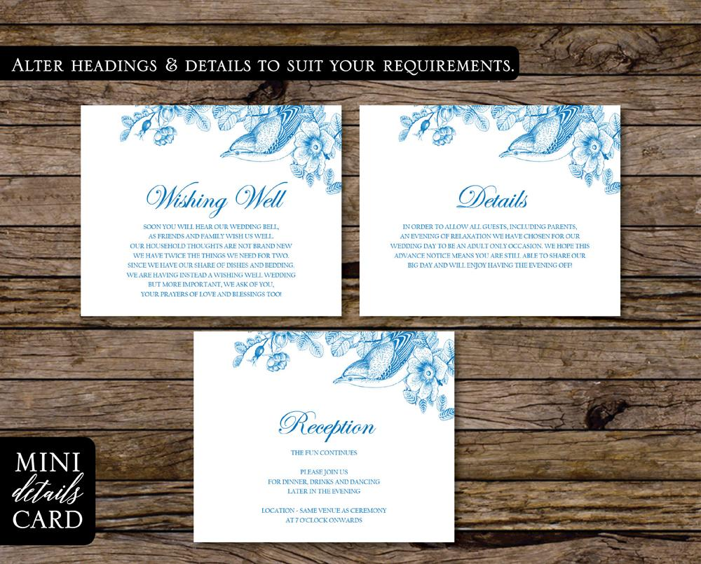 Vintage Floral Wedding Details Card Printable Template