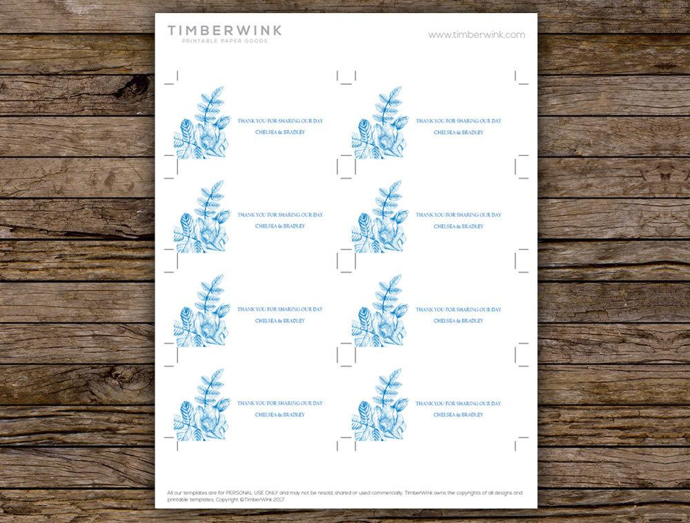 Vintage Blue Floral Wedding Favor Tag Printable Template Instant Download PDF