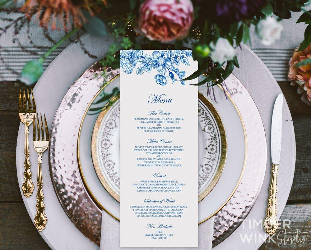 Vintage Blue Floral Wedding Menu Printable Template Instant Download PDF