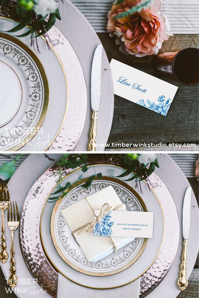 Vintage Blue Floral Wedding Place Card Printable Template Instant Download PDF